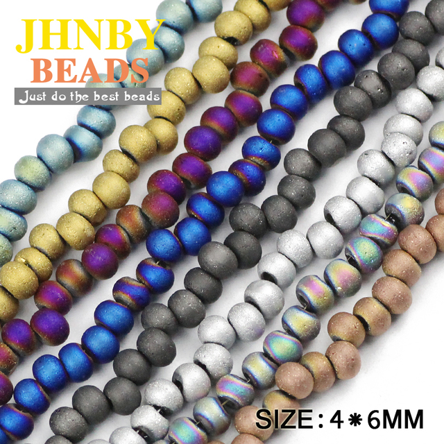 JHNBY Earrings ball Matte Austrian crystal beads 4x6mm 100pcs plated Round Loose  beads Jewelry bracelet accessories making DIY 1869f7cce762