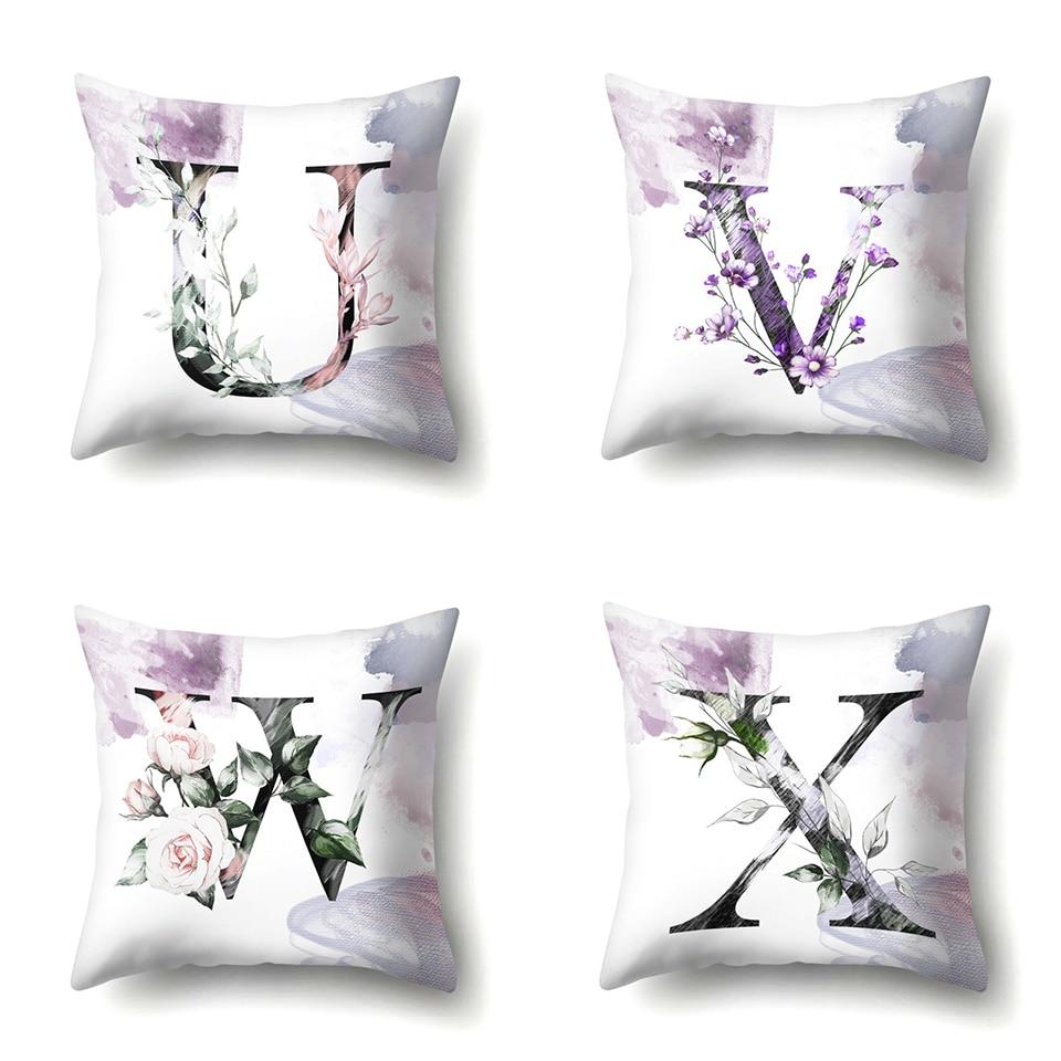f Nordic Violet Letters Cushion Cover Printed Flowers Throw Pillow Covers Decorative Purple Farmhouse Decor Plants Home Decoration