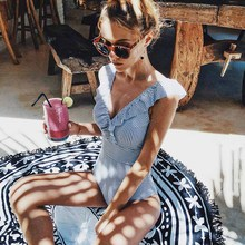 2019 Sexy Print Swimwear Women Swimsuit Backless One Piece Swimsuit Bandage Beachwear Ruffle Bathing Suit Swim Monokini