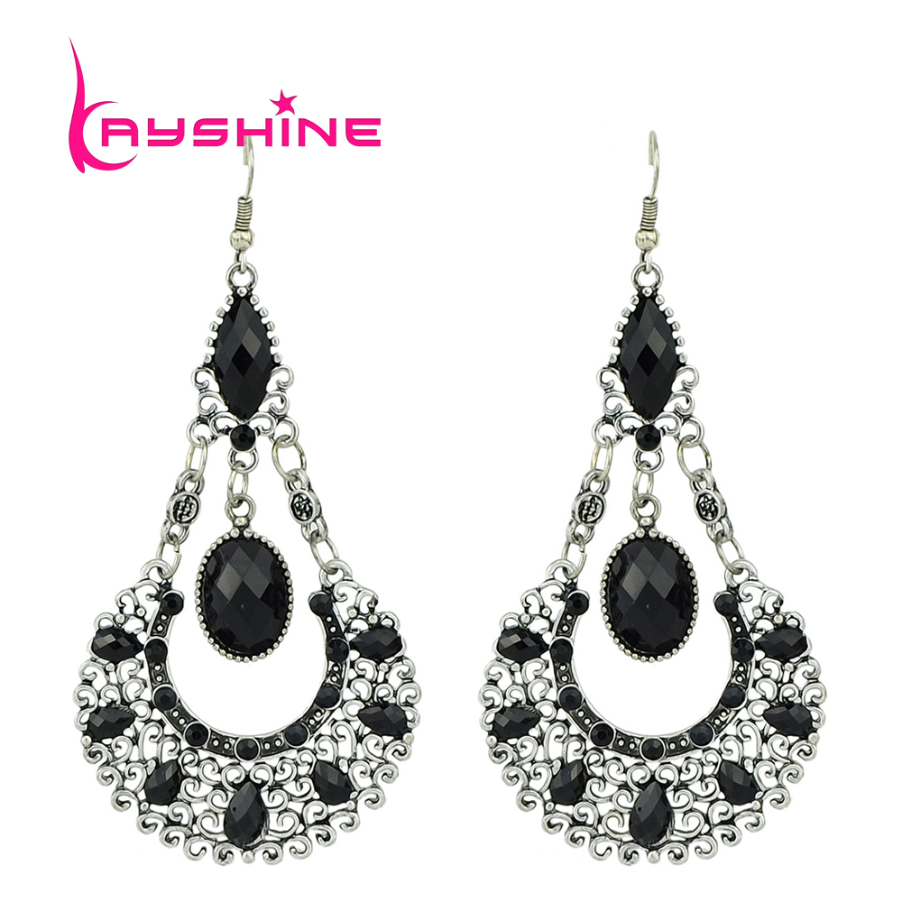 Vintage Style Large indian Earrings Antique Silver Color Hollow ...