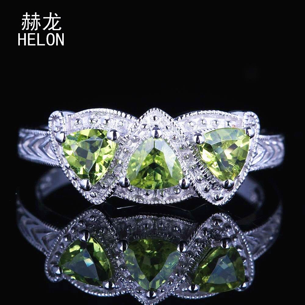 Fine Art Deco style 0.66ct Trillion Peridot 4x4mm Sterling Silver 925 Three Stones Ring Wedding Anniversary Fine Vintage Ring серьги art silver art silver ar004dwzmh30