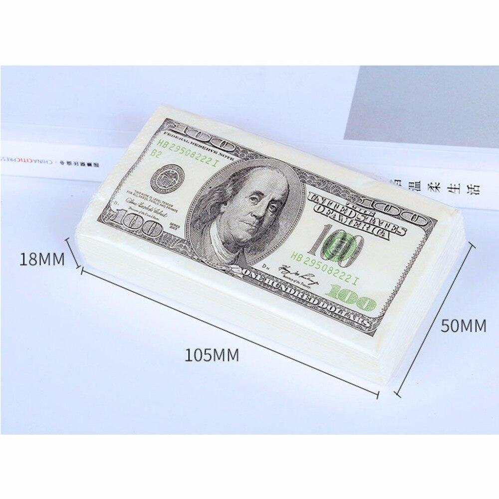 10 Packs Napkin Paper 100 Dollar Raw Wood Pulp Facial Tissue Handkerchief