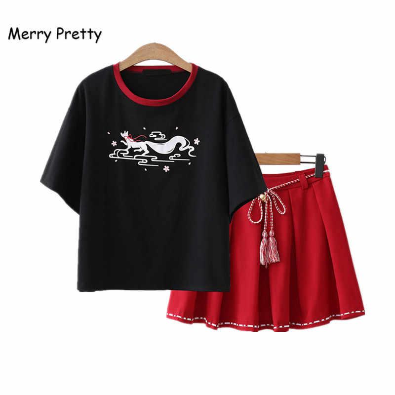 Feliz mujer bonita camiseta y Mini faldas 2 piezas conjuntos Vintage negro manga corta Camisetas falda de gasa con fajas chica conjunto
