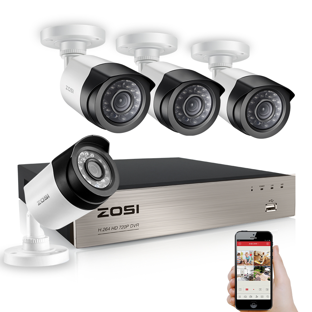 ZOSI 4CH 1080P TVI DVR 2.0MP 1080P CCTV Camera P2P Home Outdoor Security Camera Surveillance CCTV System Kits zosi 8ch cctv system 8ch network tvi dvr 4pcs 1280tvl ir weatherproof home security camera system surveillance kits