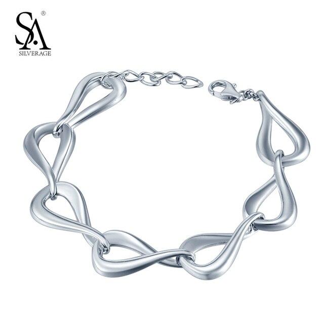 Sa silverage real стерлингового серебра 925 браслеты & браслеты для женщин ювелирных украшений браслеты mujer старинные-аксессуары