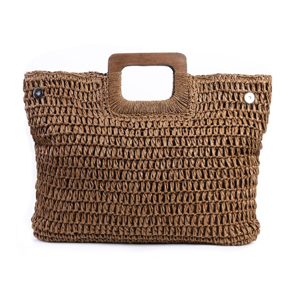 Straw-Bag Rattan Beach-Handbags Kintted Handmade Large-Capacity Vintage Bohemian Women