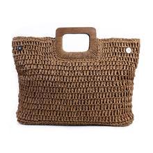 Bolso de paja bohemio Vintage para Mujer, bolsos de playa de gran capacidad de verano, bolsos de viaje de ratán tejidos a mano, Bolsas de Mujer