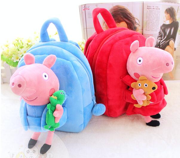 Presente para o bebê 1 pc 25 cm dos desenhos animados pequeno sorriso porco animal de pelúcia boneca mochila no ombro bolsa Satchel boy girl toy
