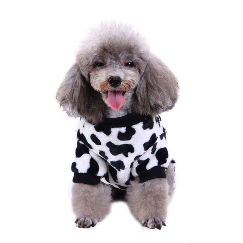 Pet Cloth Supplies Pet Dog Warm Pajamas for Winter Puppy Camouflage and Cow Pattern Coats Four Foot Fleece Pet Clothes Costume