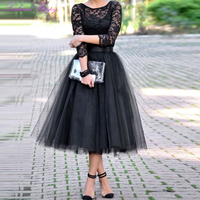 Women's A line Scoop Neck Black Vintage Lace Cocktail Dresses Tea Length 3/4 Sleeves Tulle Cocktail Party Dress Formal Dress