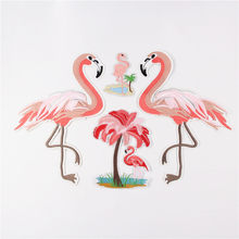 68e6a11719f4f Embroidered big pink flamingos patch fashion Iron On patches for clothing  DIY T shirt accessories Turkey