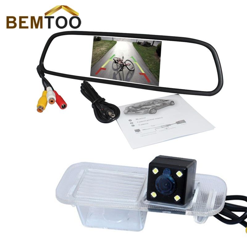 imágenes para Bemtoo 5 pulgadas hd led 800*480 monitor del espejo retrovisor con CCD cámara de visión trasera para K2 Rio Sedan noche impermeable versión