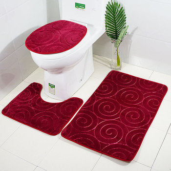 3Pcs per Set Anti Slip Bath Mats and Toilet Rugs with Lid Cover for Western Toilet