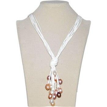 Collar de cuero Lariat perla arroz blanco Natural Multi Strand nuevo diseño de moda blanca