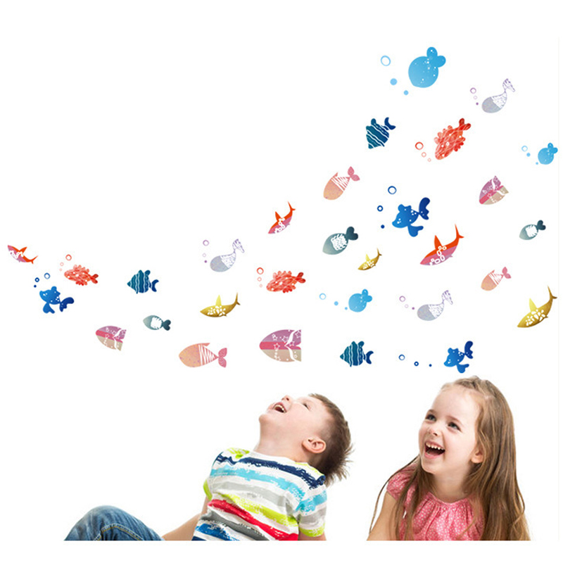 Cartoon A lot of small fish wall sticker Cute Vinyl Bathroom background Home Decor Decals waterproof Nursery decoration stickers