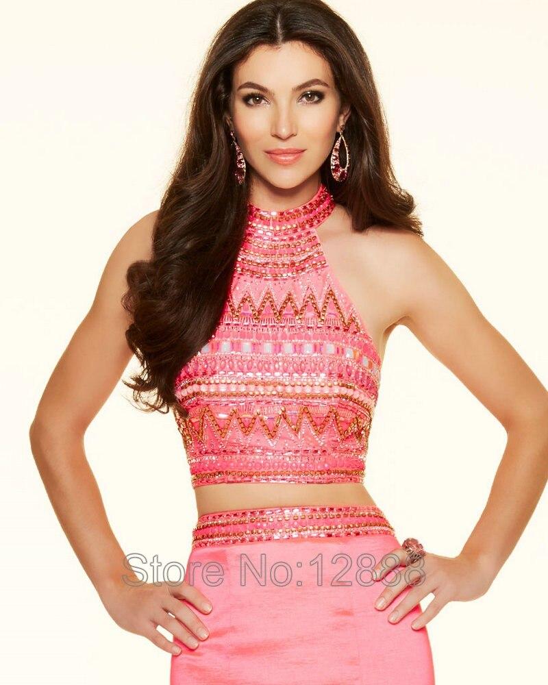 Estilo 98105 de Neón de Color Rosa Vestidos de Fiesta de Satén de ...