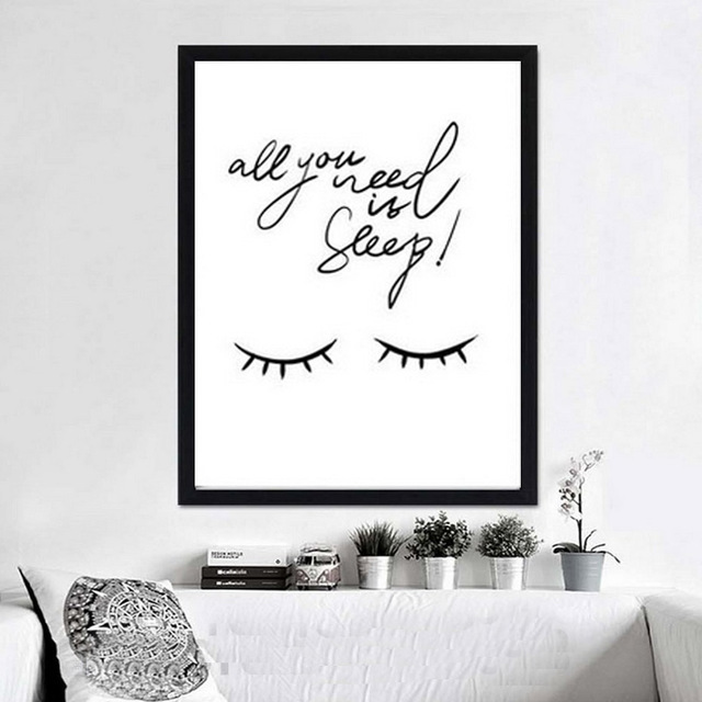 All You Need Is Sleep Quote Canvas Painting Pictures Black and White ...