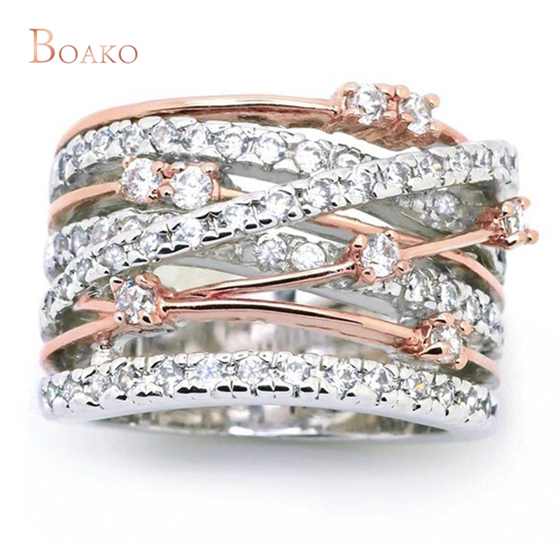 Rose Gold/Silver Color Wide Cross Rings For Women AAA Cubic Zirconia Multilayer Shiny Ring Bague anillos mujer femme Jewelry Z4 Кольцо