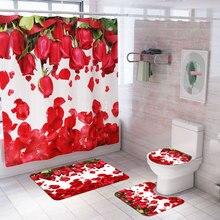Занавеска для душа с принтом лепестков роз, 4 шт., набор ковров, покрытие для унитаза, коврик для ванной, наволочка, занавеска для ванной комнаты, 12 крючков