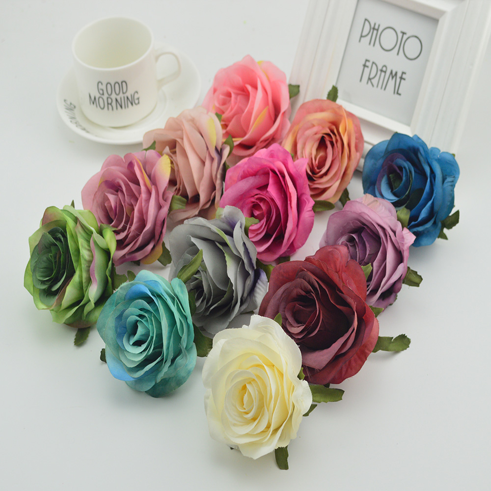100pcs Silk plastic roses flowers wall for vases home wedding decoration accessories cheap artificial flowers for scrapbooking