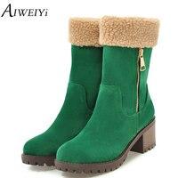 AIWEIYi Brand Women Boots Female Winter Shoes Woman Fur Warm Snow Boots Fashion Square High Heels