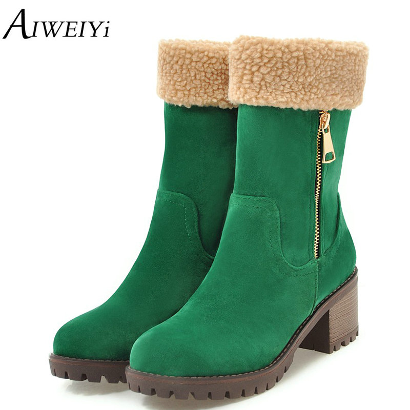 AIWEIYi Brand Women Boots Female Winter Shoes Woman Fur Warm Snow Boots Fashion Square High Heels Mid Calf Boots Half Knee Boots yougolun woman nubuck winter over the knee snow boots 2018 women thigh high boots ladies square heels thick plush warm shoes