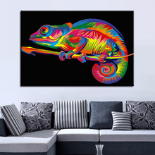 цена на Artistic Color Animal Pictures For Living Room Wall Decorative Modern HD Printed Type 1 Panel Rainbow Chameleon Canvas Posters