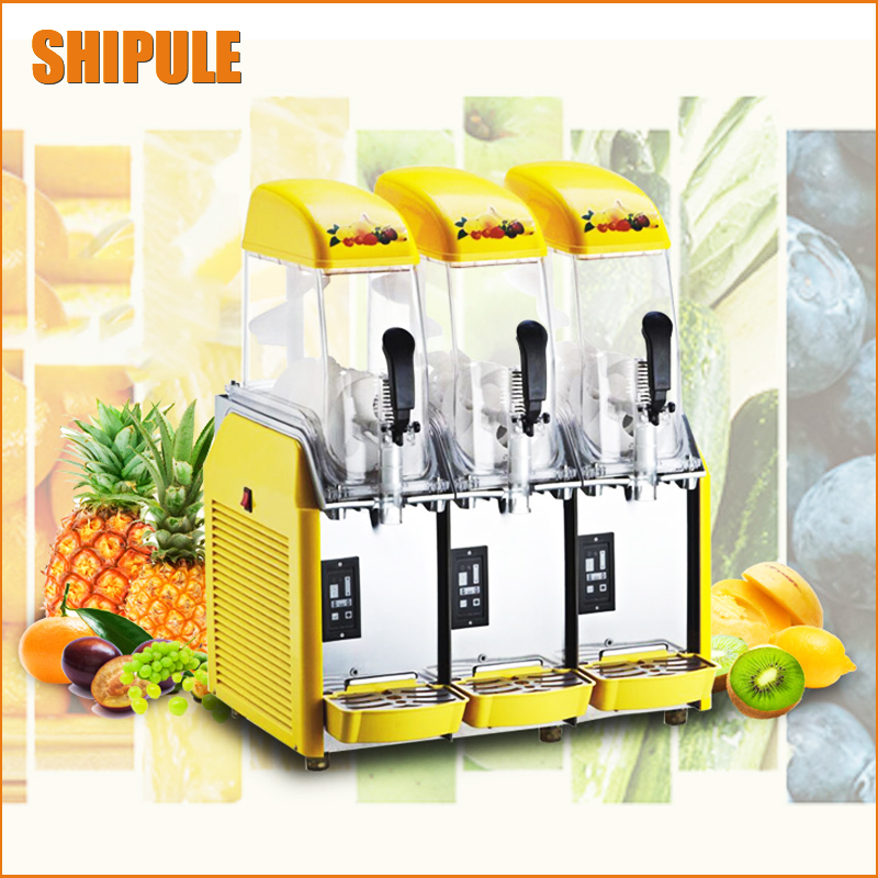 Free DHL 36L Commercial Slush machine,Snow melting machine withThree Tanks Ice Slusher