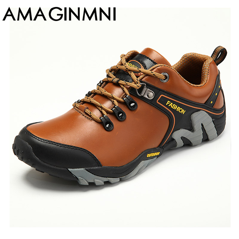 цены AMAGINMNI Men Shoes Genuine Leather Shoes Casual High Quality Comfort Business Man Footwear Nonslip Rubber Outdoor leisure shoes