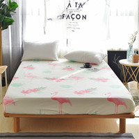 100% Cotton Printing Pink Flamingo Bedding Cheap Full Size Single Double Bed Comfortable Fitted Sheet Mattress Cover pillowcases
