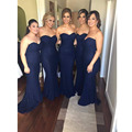 Honey Qiao Navy Blue Long Bridesmaid Dresses Lace Mermaid 2017 Strapless Prom Evening Dresses Wedding Party Dresses