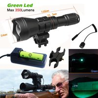 Tonelife Hunting Flashlight Green 300 Yards Long Range Rechargeable Hog Coyote Fox Varmint Lamp Zoomable Cree Led 350lM Torch