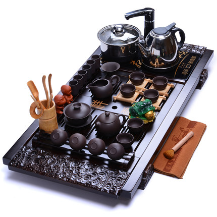 Sala de estar Roxo Argila Kung Fu jogo de chá bandeja de Chá fogão de indução quatro em um Puer Bule xícara de Cerâmica Sólida mesa de chá em madeira