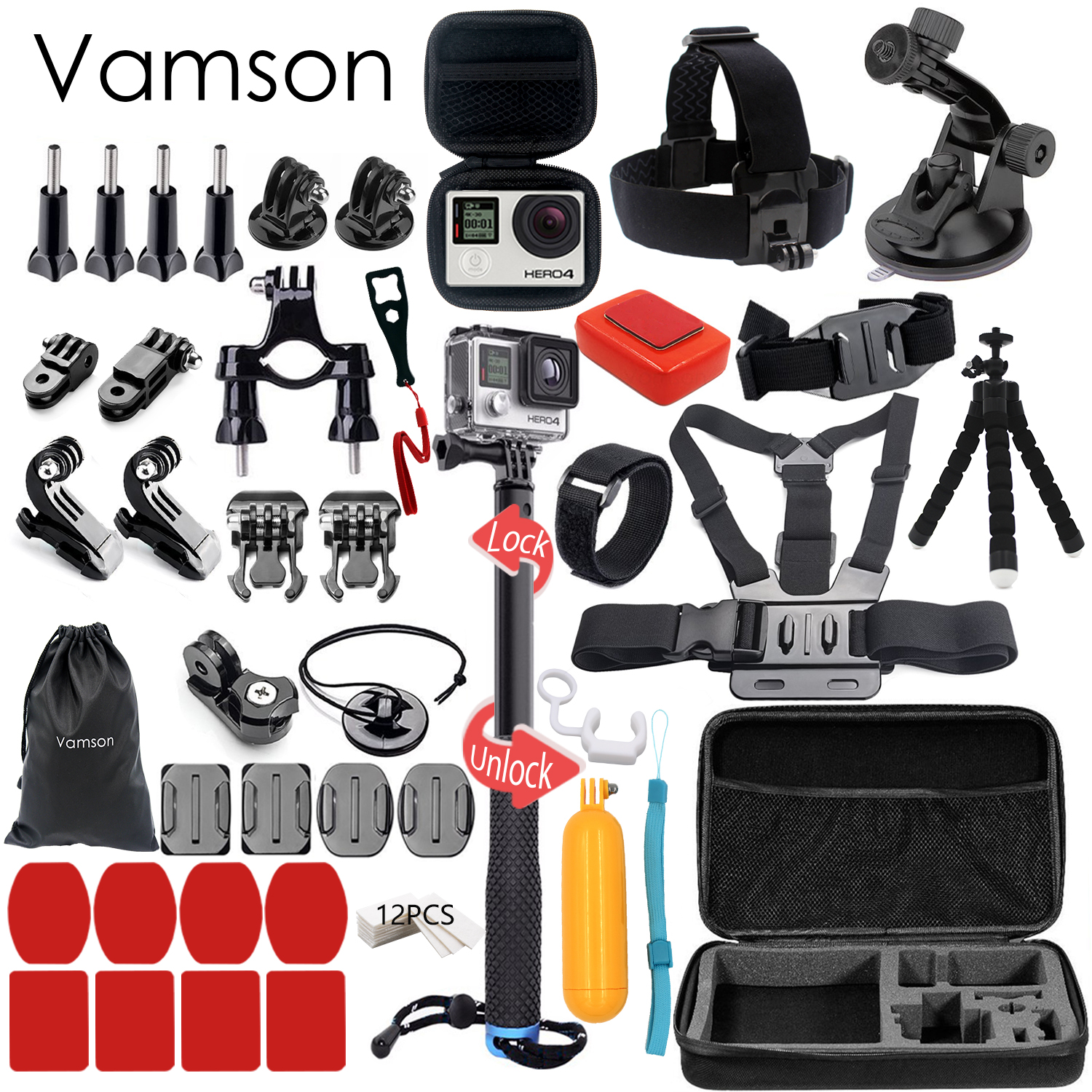 Vamson for Gopro Accessories Kit For Gopro Hero 6 5 Hero 4 Hero3 for Xiaomi for yi SJCAM SJ4000  VS88 gopro accessories head belt strap mount adjustable elastic for gopro hero 4 3 2 1 sjcam xiaomi yi camera vp202 free shipping
