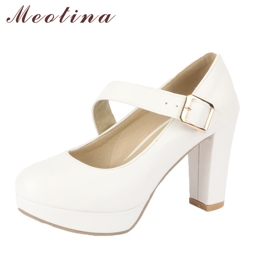 Meotina Women High Heels Platform Shoes Thick Heels Mary Jane Shoes Female Pumps White Wedding Shoes Bridals 2018 Big Size 33-43 meotina high heels shoes women wedding shoes platform high heel pumps ankle strap bow spring 2018 shoes white pink big size 43