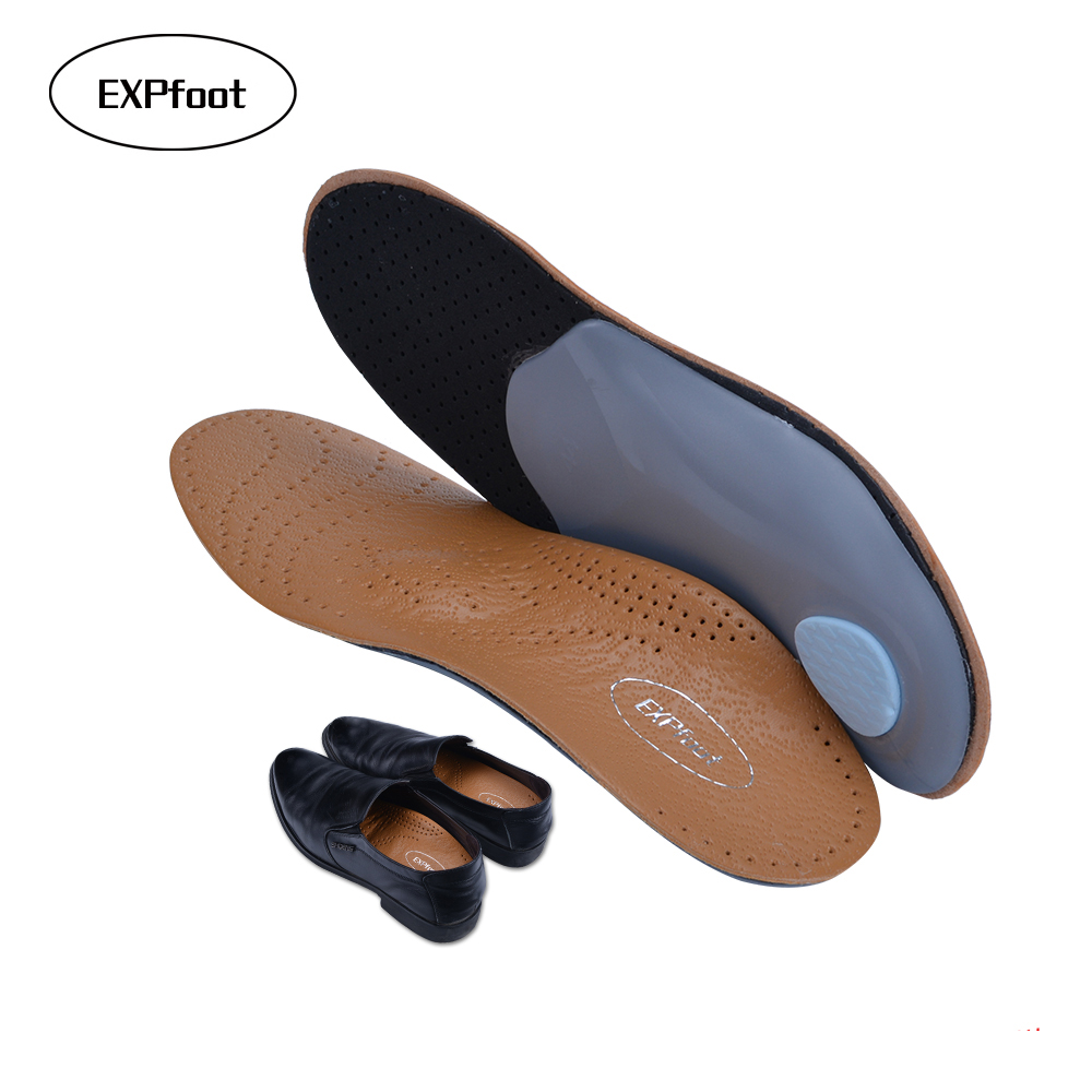 3D Premium healthy Leather orthotic insole for Flatfoot High Arch Support Insoles Silicone Insoles men and women leather shoes
