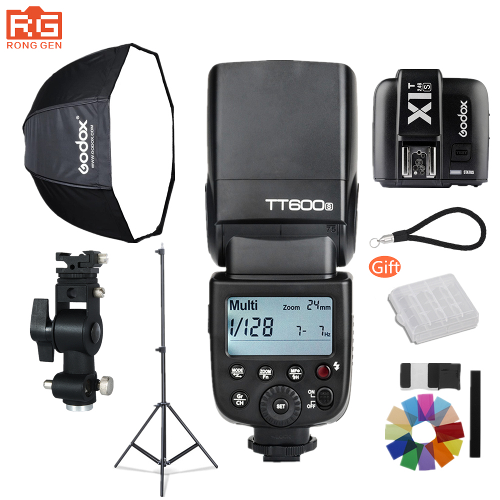 Godox Photography Suite TT600S 2.4g Wireless HSS Flash + 80cm Umbrella Softbox + Light Stand + X1T-S Trigger for Sony SLR Camera pt04s1 one triggered two 4 ch wireless flash trigger set for sony slr black