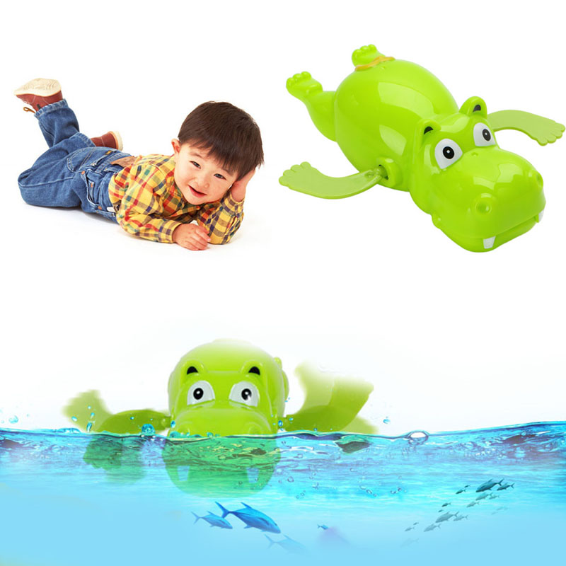 New 1pc Children Baby Bathing Float Hippo Animal Clockwork Dabbling Toy Funny