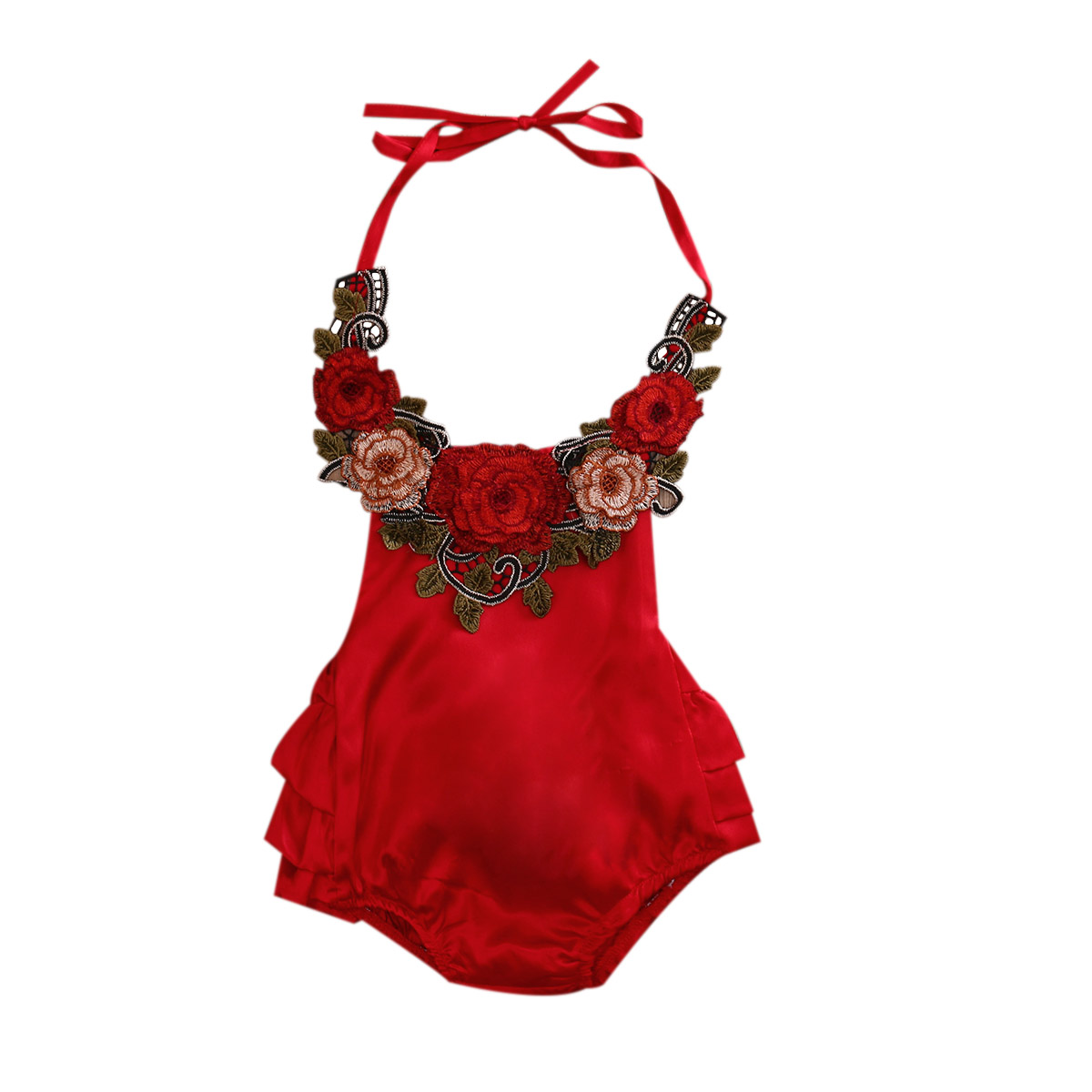 Summer 2017  Newborn Baby Girl Belt Hanging Neck 3D Rose Flowers Romper Sleeveless Belt Jumpsuit Sunsuit Clothes