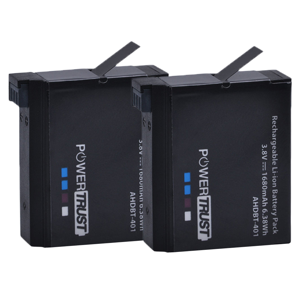 PowerTrust 2Pcs 1680mAh AHDBT 401 Go Pro AHDBT-401 AHDBT401 Li-ion Digital Camera Battery For GoPro 4 HD Hero 4 Hero4
