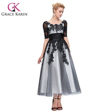 Grace Karin Long Lace Evening Dresses 2016 Elegant Half Sleeve Black White Champagne Formal Dress Ball Evening Gowns Plus Size