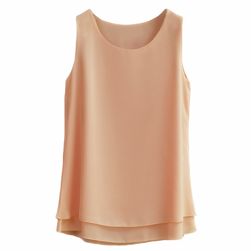 New 13 colors Womens Tops Fashion 2017 Women Summer Chiffon Blouse Oversized S-6XL Sleeveless Candy colors Casual Shirt