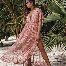 7b47e1725f3 SESOAF женское сексуальное длинное платье с коротким рукавом с глубоким  v-образным вырезом кружевной комбинезон