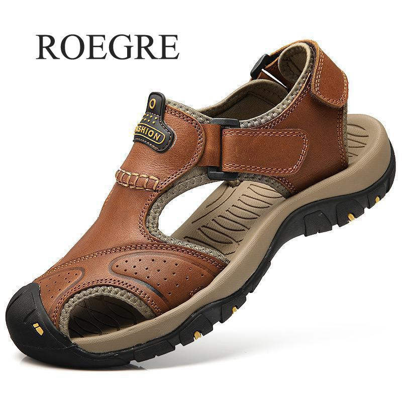 ROEGRE Mens Sandals Genuine New Fashion Leather Summer Beach 2018 New Beach Men Casual Shoes Outdoor Sandals Plus Size 38-46