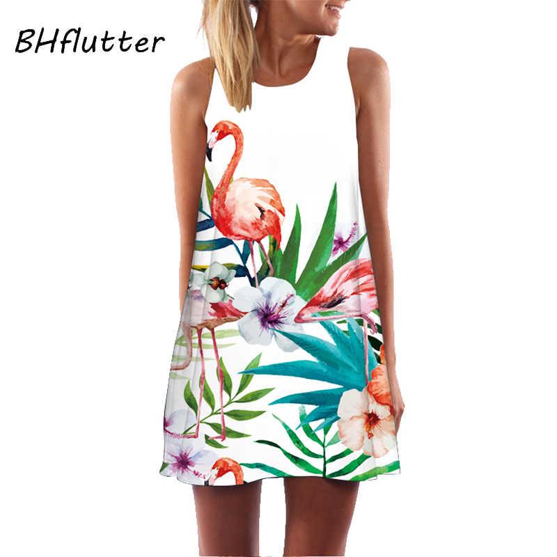 BHflutter النساء فستان 2018 جديد وصول روز طباعة أكمام فستان صيفي س الرقبة عادية فضفاض فساتين الشيفون الصغيرة Vestidos