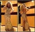 Роскошные великолепная кристалл сексуальная русалка бисером холтер стиль золотой назад блестками / вечер / знаменитости платья 2016 на заказ
