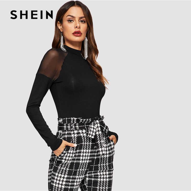 44a8447a6e ... SHEIN Highstreet Black Mesh Insert Shoulder Mock-neck High Neck Plain  Tee 2019 Spring Casual ...