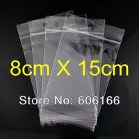 1000 pc/lote 8 * 15 cm Hanging buraco limpar autoadesivo Seal Poly OPP saco plástico embalagem sacos