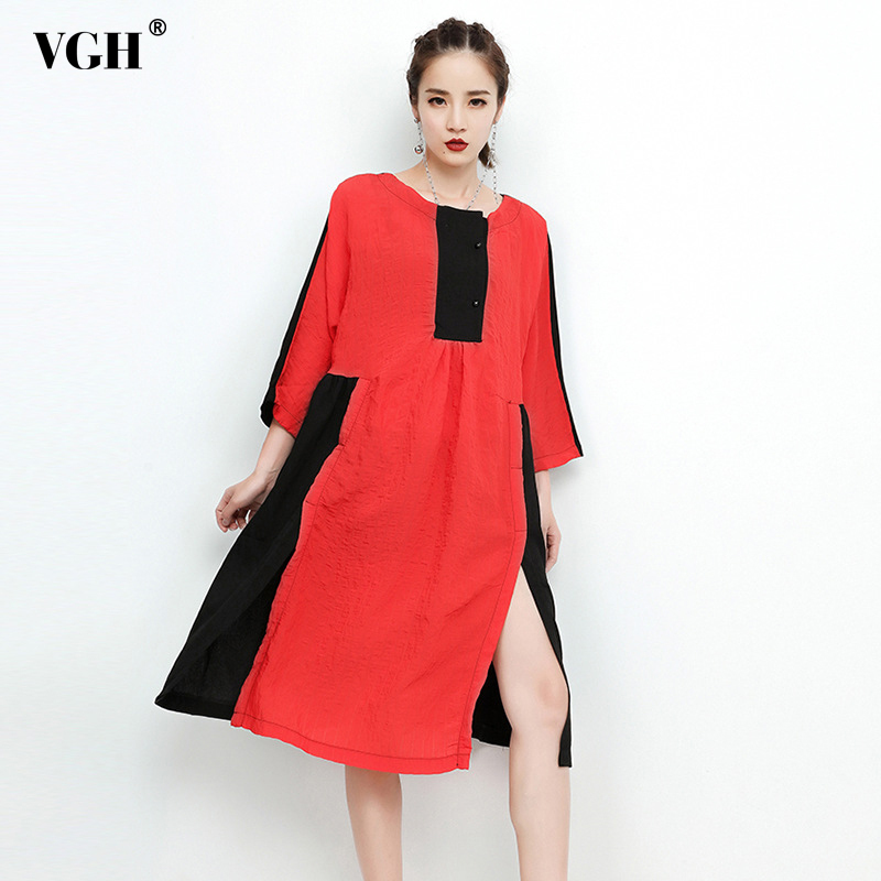 VGH 2018 Spring Women Dress Female Hem Split Long Sleeve Loose Big Size Hit Colors Womens Dresses Clothes Fashion Casual