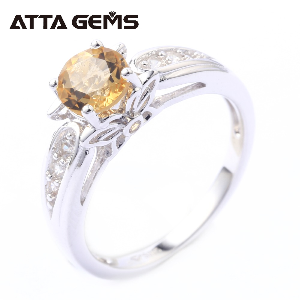 Natural Citrine Sterling Silver Rings 1 Carats Natural Yellow Crystal Ring Womens Party Jewelry S925 Clean Quality Crystal RingNatural Citrine Sterling Silver Rings 1 Carats Natural Yellow Crystal Ring Womens Party Jewelry S925 Clean Quality Crystal Ring